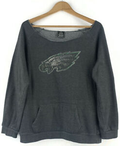 Womens Eagle Bird Embellished Slouch Sweatshirt Grey USA Rhinestone Jumper Top M