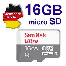 16 GB SanDisk ultra micro SD Speicherkarte Class 10 SDHC 80 mbit/s + SD Adapter