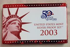 2003-S US Mint Silver Proof Set - Original Box and COA