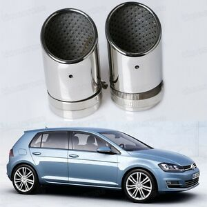 2Pcs Silver Exhaust Muffler Tail Pipe Tip Tailpipe for VW Golf MK7 2013-2014