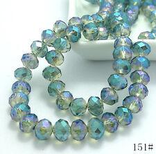 80pcs 8mm Rondelle Faceted Crystal Jade Porcelain Glass Loose Beads Multicolor