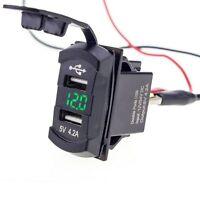 12V Dual USB Charger Socket Voltage Voltmeter Rocker Switch Green LED Car Boat &