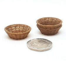 Dolls house Bespoke 1:12 scale wicker round bread baskets 3 pack by BUSHBABY