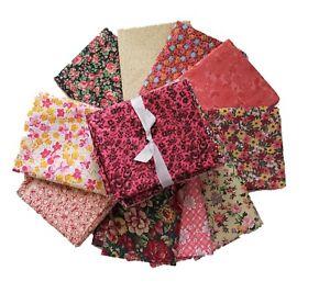 Fabric Fat Quarter | Calico Red | Precut Quilting Cotton | Set of 10