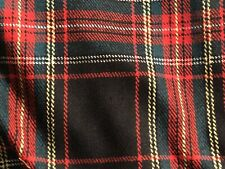 """Tartan Plaid Wool Fabric Vintage Measures 86""""x57"""" Beautiful Condition Red Check"""