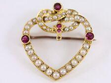 Seed Pearl and Ruby Brooch 18ct Gold Ladies Vintage 750 4.3g AP50