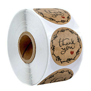100Pcs Thank You Stickers with Red Heart Handmade Labels Sticker For Business