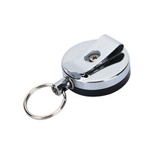 Retractable Holder Steel Recoil Key Ring Belt Clip Pull Chain Metal Card Badge