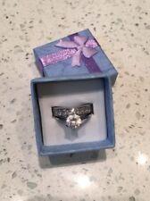 Ladies Stainless Steel Wedding Set, Princess Cut CZ Stones & Solitaire.Size K-L