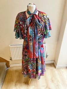Vintage Diane Freis Dress With Scarf Print Ruffle Size Small Festival Boho