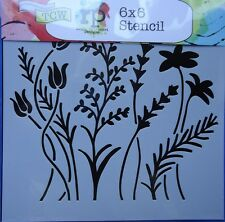 Template 6x6 Wildflowers Stencil The Crafters Workshop card scrapbooking Tcw433s