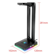 RGB Headphone/Headset Stand with AUX & USB Ports, Gamers Gaming Chroma Holder