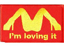 I'M LOVING IT McDonald's Embroidered Jacket Vest Funny Biker Saying Patch Emblem