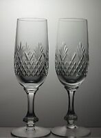 """CUT GLASS LEAD CRYSTAL CHAMPAGNE FLUTES SET OF 2 - 7 1/4"""" TALL"""