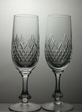 "CUT GLASS LEAD CRYSTAL CHAMPAGNE FLUTES SET OF 2 - 7 1/4"" TALL"