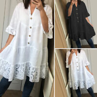 VONDA Women 3/4 Sleeve Casual Blouse Shirt Dress Solid Loose Lace Ruffles Top