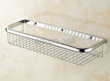 Bathroom Chrome Brass Shower Wall Mounted Basket Shelves Caddy Storage aba514
