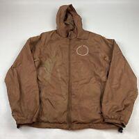 Diesel Men's Medium Size Medium Brown Nylon Windbreaker Jacket Embroidered Hood