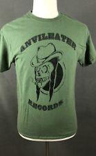 Anvil Eater Records Men's Promotional T-Shirt Size Medium Smoking Skull Graphic