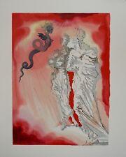 Estampe originale DALI : Diable noir, Divine comédie DANTE (Certificat)