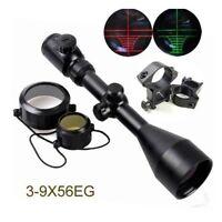 3-9x56EG Red Green Mil-Dot Air Rifle Optics Sniper Scope Sight 20mm Rail Mount