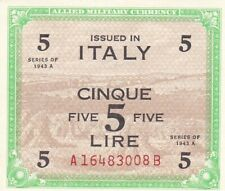 1943 A Italy 5 Lire Allied Millitary Currency Note, Pick M18b