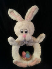 Wall Hanging Easter Chenille Bunny Rabbit basket Hand Made Vintage Craft New