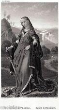 Santa Caterina d'Alessandria. Incisione, gravure, grabado. Steel Engraving.1850