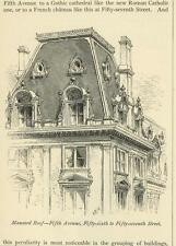 ANTIQUE MANSARD ROOF FIFTH AVENUE FIFTY-SIXTH TO FIFTY-SEVENTH STREET NY PRINT