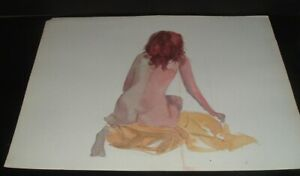 LQQK 2 vintage unsigned 24X18 NUDE WATERCOLOR PAINTINGS #7