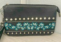 NEW Black Rhinestone Studded Purse Wristlet Turquoise Zipper Leather Western