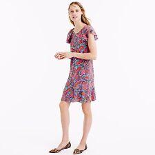 NEW J.CREW 100% SILK RUFFLED DRESS VIBRANT PAISLEY DRESS  SIZE 8