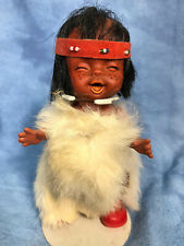 Vtg Indian Native American Laughing Baby Doll Kitsch with Fur Dress and Stand