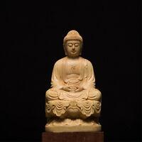 China Buddhist Temple Boxwood Carving Sakyamuni Tathagata Buddha Statue