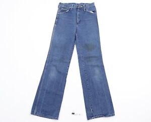 Vtg 70s Wrangler Mens 28x30 Distressed Faded Flared Wide Leg Western Jeans USA