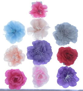 layered flower hair clip  with center detail,10cm weddings, prom choice