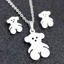 Cute bear Stainless steel earring necklace Set Charm Jewelry