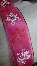 """Cute Pink Ribbon w/ Pink & White Butterflies!  Wired 1.5"""" wide - BY THE YARD!"""