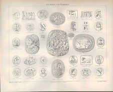 Lithografie 1897: Gemmen Kameen. Gold Kunst Handwerk Tradition Schmied Schmuck