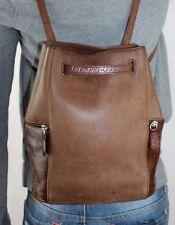 HUNT CLUB Small Med Brown Leather Shoulder Hobo Tote Sling Back Pack Purse Bag