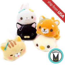 Amuse Daramofu-san Lying Plush Ball Chain Cute Kawaii Black Cat Shiba Inu Japan