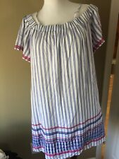 New SKIES ARE BLUE STRIPED off shoulder Detail Dress embroidered short slv M