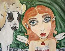 Meadow Lore Fairy Mini Alpine Goat Art Print 8x10 Collectible Mythical Magic Fae