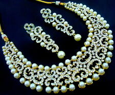 WHITE CZ PEARL GOLD TONE NECKLACE EARRINGS SET BOLLYWOOD BRIDAL JEWELRY 3 PCS