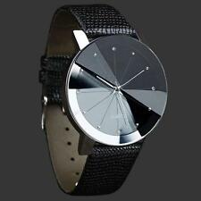 Sports Military Stainless Steel Dial Analog Leather Band Quartz Wrist Watches E