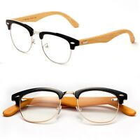 Bamboo Half Frame Vintage Glasses Clear Lens Style Non Prescription Unisex