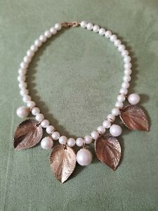 Vintage Richelieu  Faux Pearl Leaf Dangle Choker/ Necklace