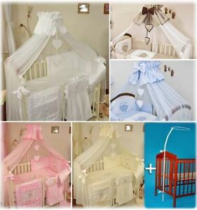 Crown Baby Chiffon Canopy/Drape/Mosquito Net+Stand Large 480cm For Cot Bed Heart