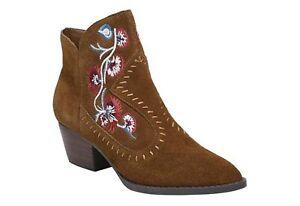 CARLOS SANTANA brown Suede Leather VIVIEN Bourbon Embroidered Floral Boots Sz 8
