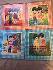 Vintage Big Eyed Children 4 Seasons Set By Lee - 1960's 11x12